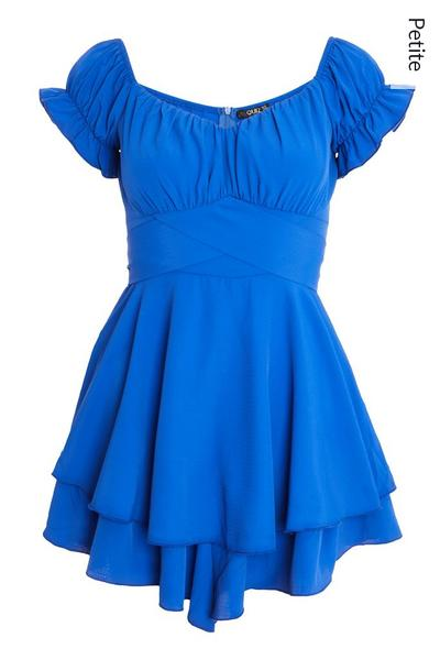 Petite Blue Bardot Frill Playsuit